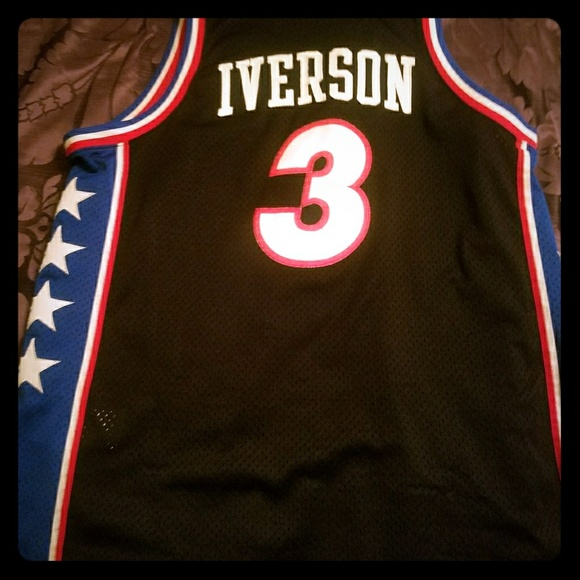 separation shoes 22274 2a6ca Throwback Authentic Allen Iverson Sixers jersey